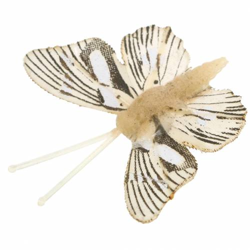 Deko Schmetterling mit Metallclip Natur sortiert H4,9cm/5,8cm/7,4cm 6St