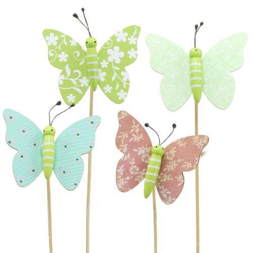Blumenstecker Schmetterling Holz 18cm 12St