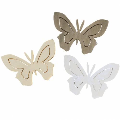 Schmetterling Holz Weiß, Creme, Braun Sortiert 4cm 72St Tischdekoration Frühling