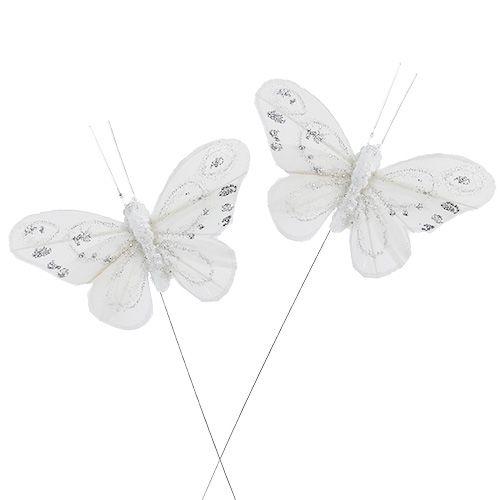 Schmetterling Weiß 9cm mit Glitter 12St