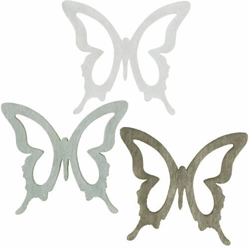 Schmetterling zum Streuen 4cm Braun, Hellgrau, Weiß Sommerliche Streudeko Holzdeko 72St