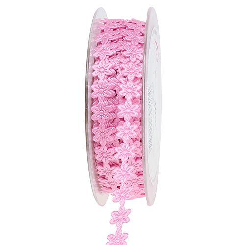 Schmuckband mit Blüte 1cm Rosa 20m