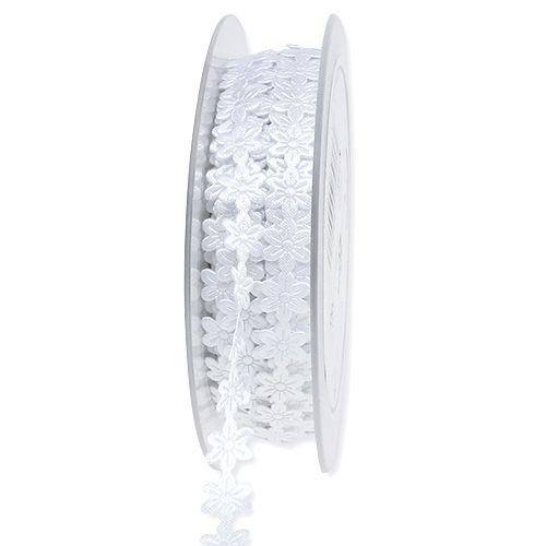 Schmuckband Weiß mit Blüte 1cm 20m