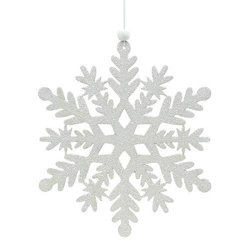 Schneeflocke Weiß mit Glimmer 20cm 4St