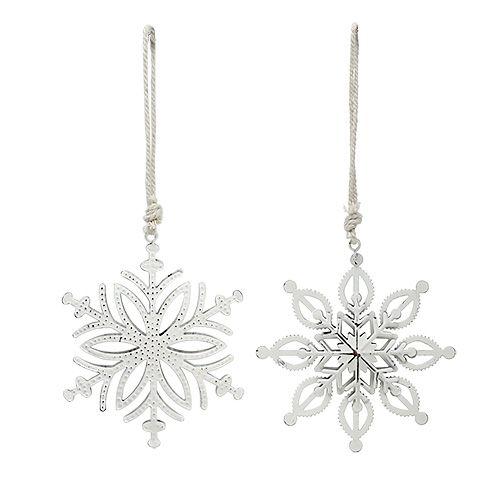 Schneeflocke aus Metall Weiß 10,5-11cm 4St