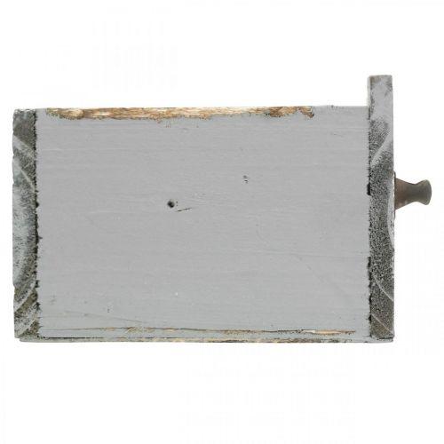 Pflanzgefäß Holzschublade Shabby Chic Grau 25x13x9cm