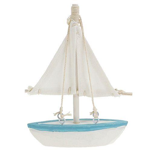 Segelboot 10cm x 14cm Weiß-Blau