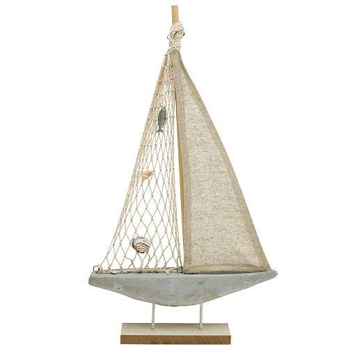 Segelboot aus Holz zum Dekorieren 25cm x 43cm