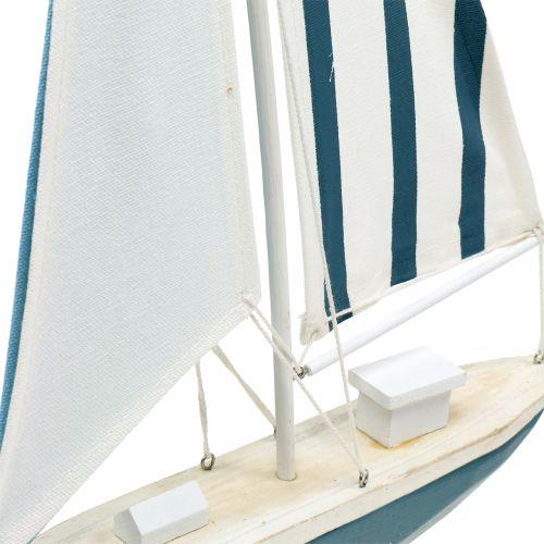 Deko Segelboot Holz Blau-Weiß 56,5cm