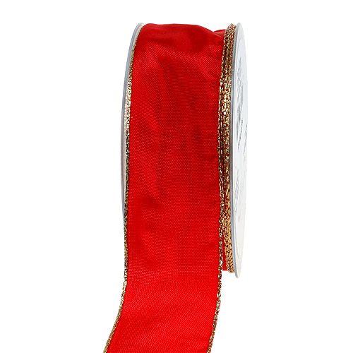 Seidenband Rot mit Goldkante 40mm 25m
