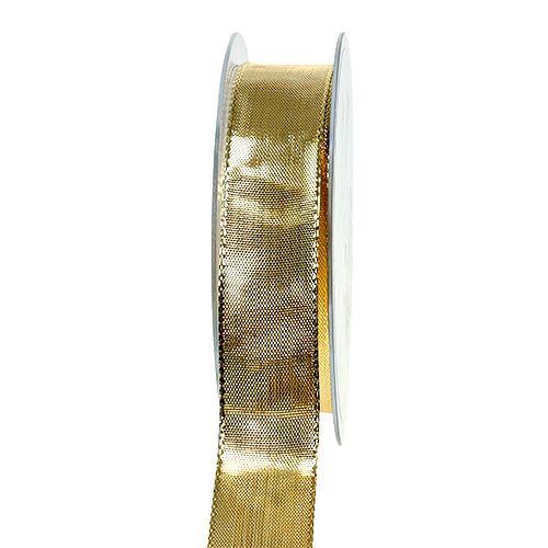 Seidenband mit Draht Gold 25mm 25m
