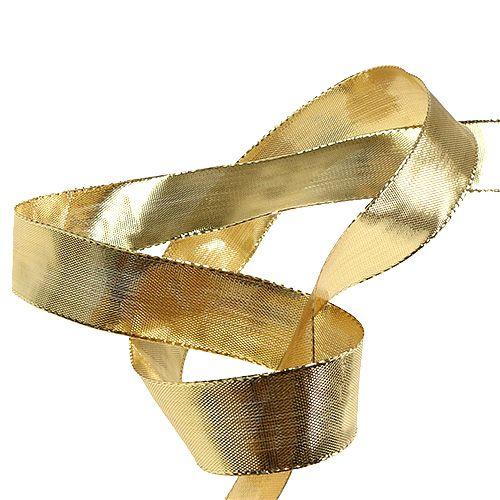 geschenkband gold mit drahtkante 25mm 25m gro handel und. Black Bedroom Furniture Sets. Home Design Ideas