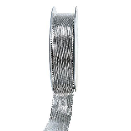 Seidenband mit Draht Silber 25mm 25m