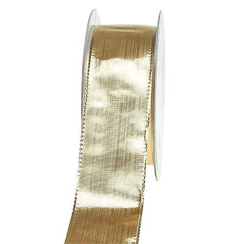 Seidenband mit Draht Gold 40mm 25m
