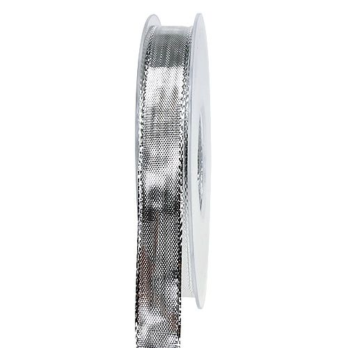 Seidenband mit Draht Silber 15mm 25m