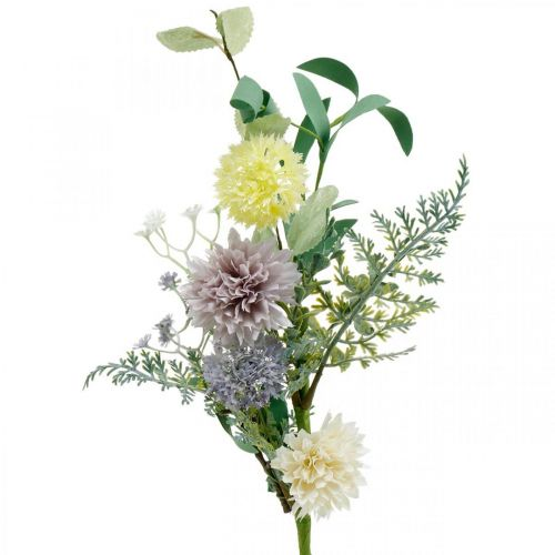 Seidenblumen im Bund, Sommerdeko, Chrysanteme und Kugeldistel, Kunstblumen L50cm
