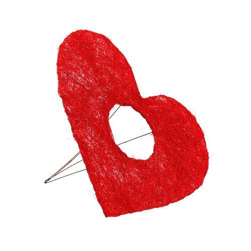 Sisalherzmanschette Rot 15cm 10St.