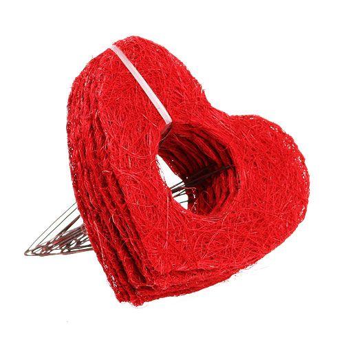 Sisalherzmanschette 20cm Rot Herz Sisal Blumendeko 10St