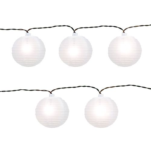 Solar-Lampionkette LED 4,5m Weiß 10 Birnen