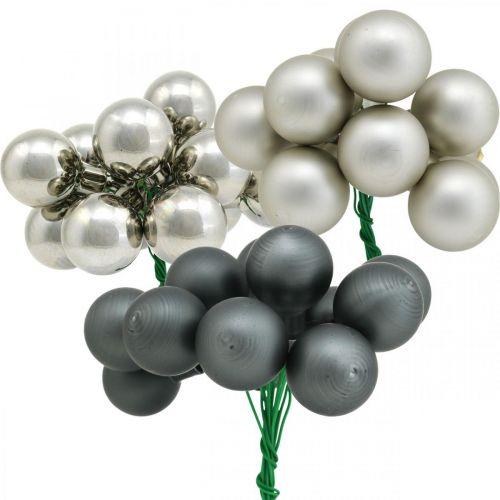 Mini Weihnachtskugeln Silber, Anthrazit Spiegelbeeren Ø25mm 140St
