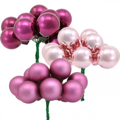 Mini Weihnachtskugel Rosa Berry Spiegelbeeren Glas Ø25mm 140St
