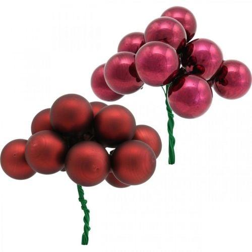 Mini Weihnachtskugel Rot, sortiert Spiegelbeeren Ø25mm 140St