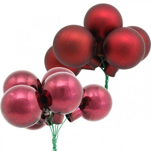 Mini Weihnachtskugel Rot, Pink Glas Spiegelbeeren Ø40mm 32St