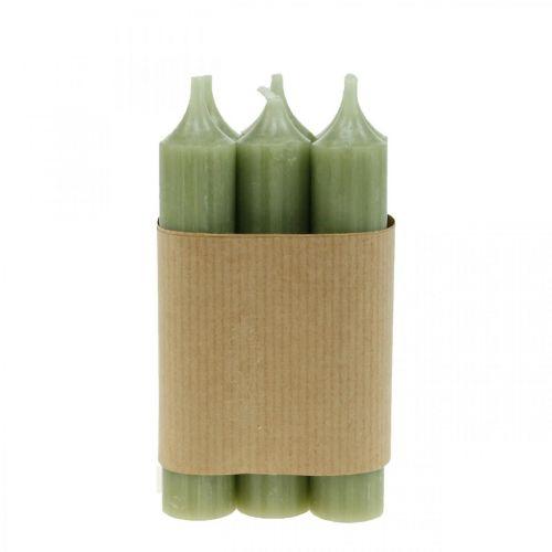 Stabkerze Grün durchgefärbt Premiumkerzen 120mm/Ø21mm 6St