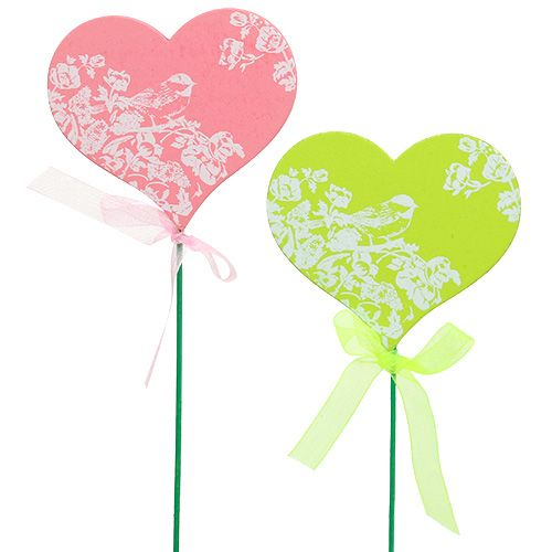 Stecker Herz Rosa, Grün 8,5cm x 7,5cm 12St