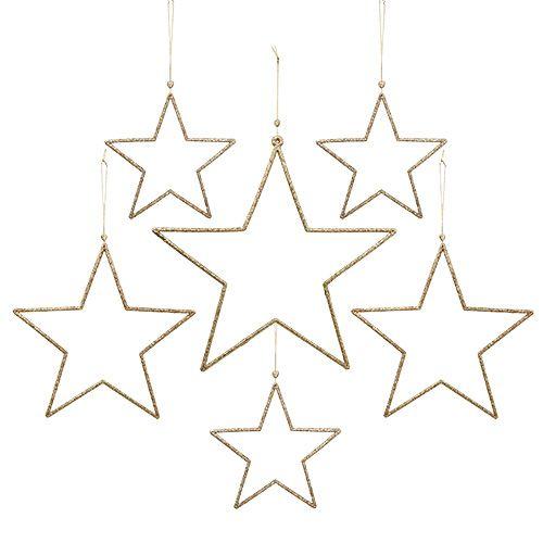 Stern-Set zum Hängen Gold, Glimmer 17-32cm