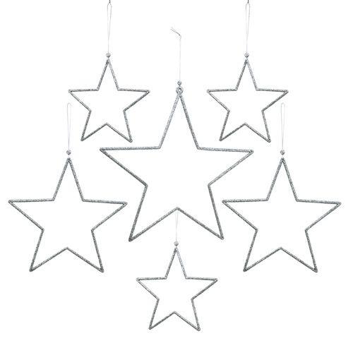 Stern-Set zum Hängen Silber, Glimmer 17-34cm