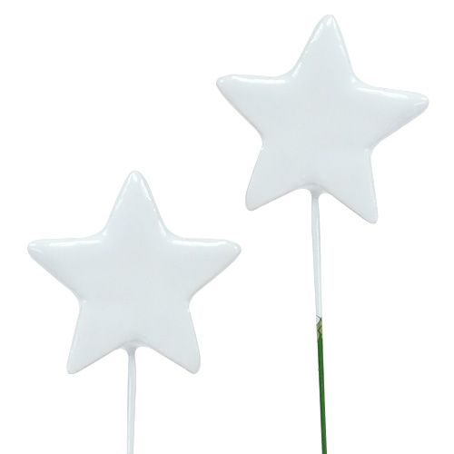 Stern am Draht 5cm Weiß 48St