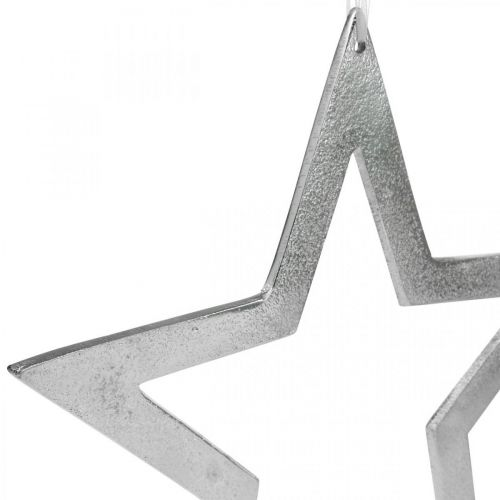 Deko Stern zum Aufhängen Silbern Aluminium Türdeko Ø28cm