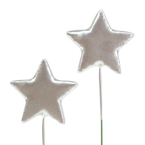 Sterne am Draht Silber 5cm L23cm 48St