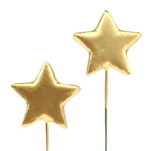 Sterne am Draht zum Basteln Gold 5cm L23cm 48St