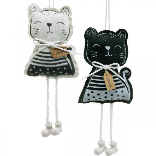 Stoffkatzen zum Hängen, Frühlingsdeko, Dekohänger Katze, Geschenkdeko 4St