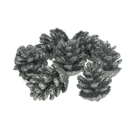 Zapfen Tannenzapfen Silber 3cm 48St