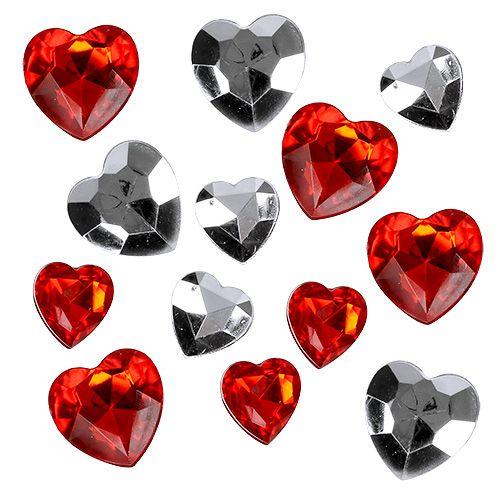 Streudeko Acrylherzen Rot, Silber 2cm - 3cm 120St