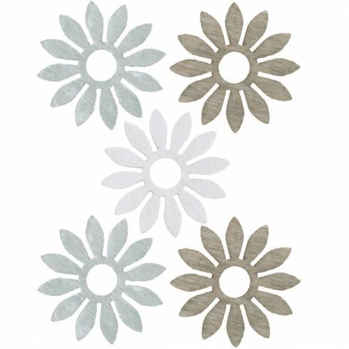 Streudeko Blume Braun, Hellgrau, Weiß Holzblumen zum Streuen 144St