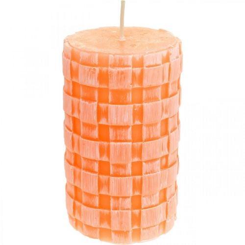Kerzen Rustic, Stumpenkerzen Korbmuster, Wachskerzen Orange 110/65 2St
