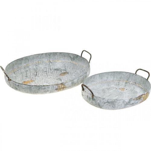 Metallschale mit Griffen, Pflanzgefäß, Dekotablett Antik-Optik Weiß gewaschen L51/40,5cm 2er-Set