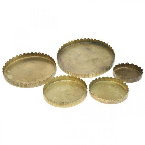 Metallteller zum Dekorieren, Tischdeko, Kerzentablett rund Golden Antik-Optik Ø7,5/10/12/15/18cm H2cm 5er-Set