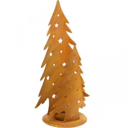 Windlicht Tannenbäume, Metalldeko in Edelrost, Weihnachten H46cm B25,5cm