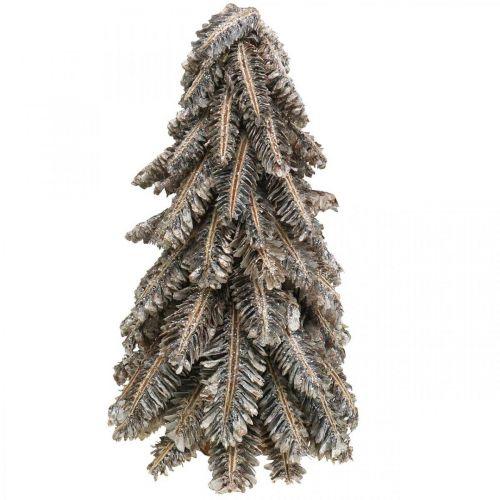 Tannenbaum aus Zapfen, Weihnachtsbaum beschneit, Winterdeko, Advent, Weiß gewaschen H33cm Ø20cm