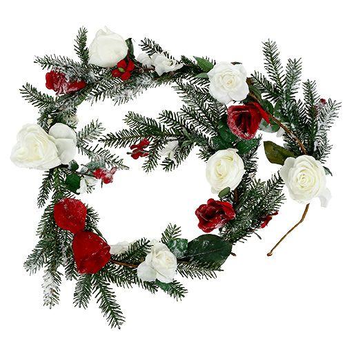 Tannengirlande mit Rosen beschneit 180cm