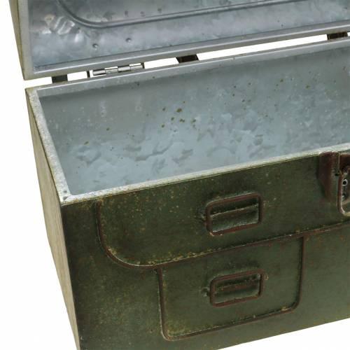 Pflanzgefäß Tasche mit Deckel und Ledergurten Metall Grau, Braun / Rost H25cm