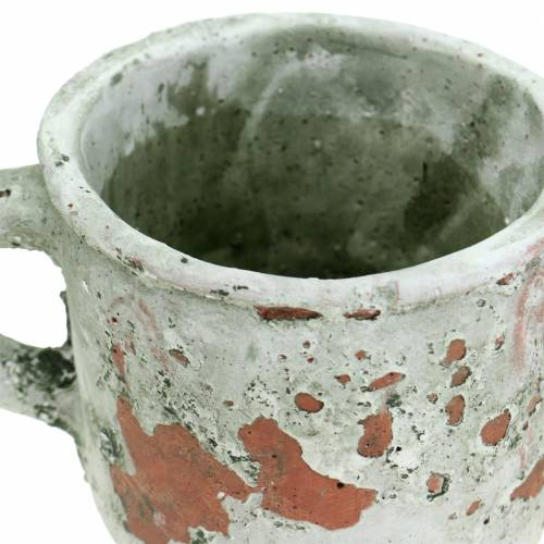 Pflanztopf Übertopf Tasse Vintage Grau, Natur Ton Ø8,5cm H8cm 4St