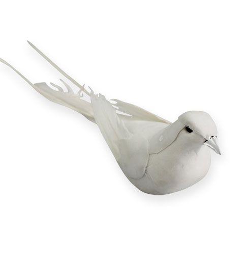 Deko-Tauben am Draht Weiß 16cm 4St
