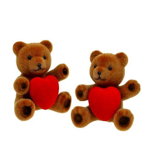 Teddy beflockt 10cm mit Herz 6St