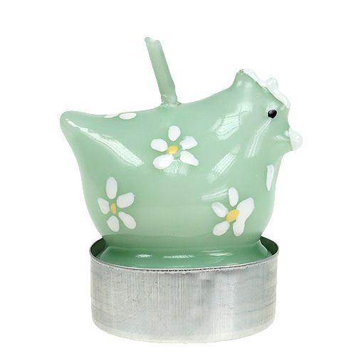 Teelicht Huhn Hellgrün 5cm 4St